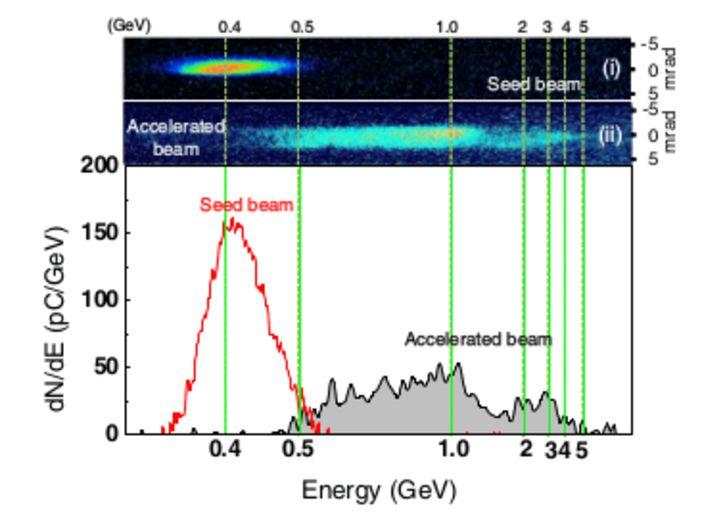 Спектр электронов после первой струи (seed) и в конце (accelerated).
