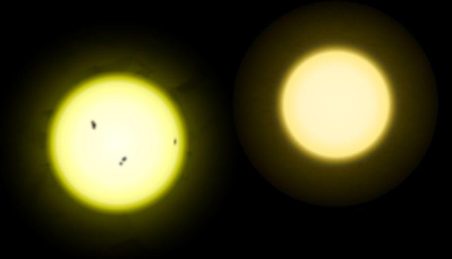 Сравнение более горячего Солнца (слева) и более старой Тау Кита (справа)