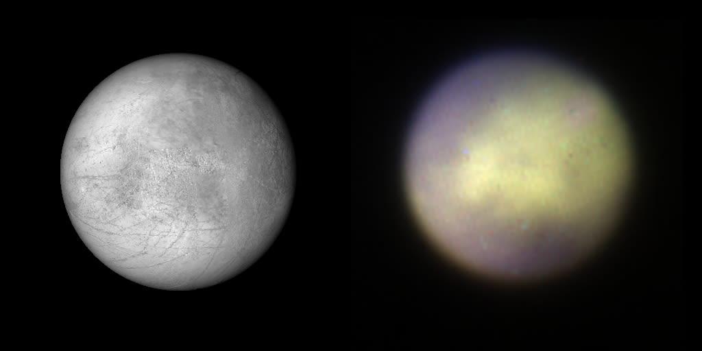 Фотография Европы, полученная Вояджерами (слева) и GPI (справа)