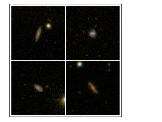 Изображение галактик, в которых был обнаружен атомарный водород.