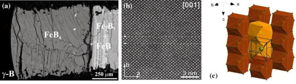 (a) Внешний вид тетраборида железа, полученный с помощью сканирующего электронного микроскопа, справа видны более светлые другие фазы борида железа. (b) Тетраборид железа при большем разрешении, видна кристаллическая структура вещества. (c) Кристаллическая структуру тетраборида.