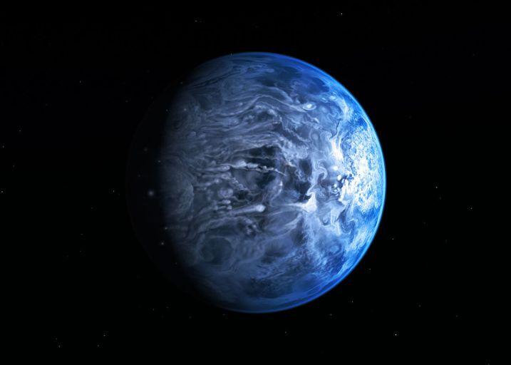 Голубая экзопланета HD 189733b глазами художник.