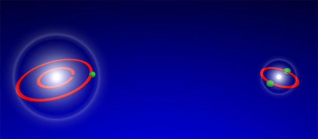 Приблизительно так выглядит молекула гелия. Среднее расстояние между атомами намного превосходит их размеры.