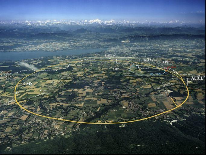 Вид на Большой адронный коллайдер с высоты птичьего полёта.