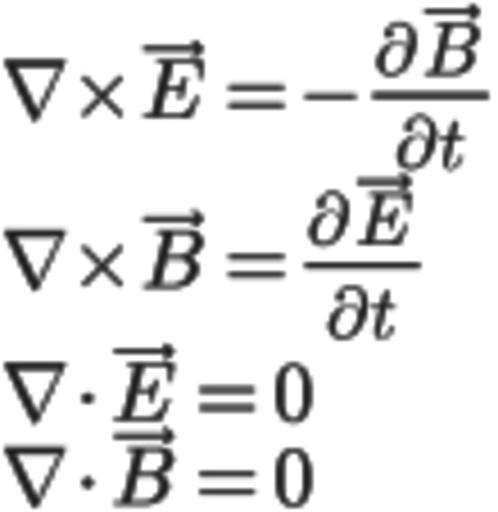 Уравнения Максвелла в вакууме в системе СИ.