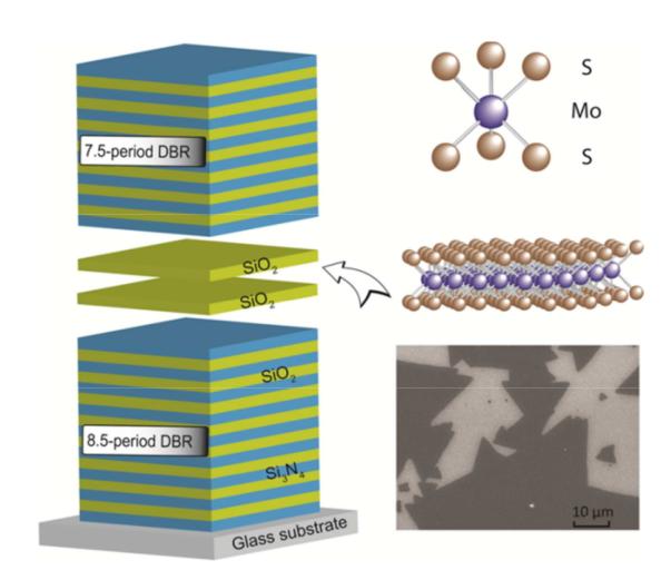 Структура микрорезонатора (слева), кристаллическая структура сульфида молибдена (справа вверху) и фотография сульфида молибдена, полученная сканирующим электронным микроскопом (справа внизу).