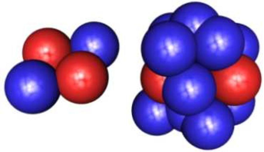 Условное строение атомов гелия (слева) и лития (справа).