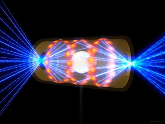 Схема мишени NIF. Синий— лазерное излучение; ярко-жёлтый— источники рентгена; тёмно-жёлтый цилиндр— золотой хольраум, навнутренних стенках которого ипроисходит конвертация лазерного излучения врентгеновское; белая сфера— собственно, мишень стермоядерным топливом.