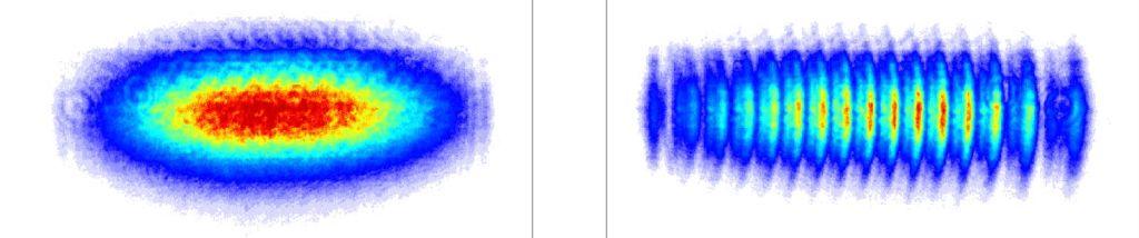 Сравнение картины, получаемой на экране в случае, когда плазмоны не возбуждаются (слева) и когда они возбуждаются (справа).