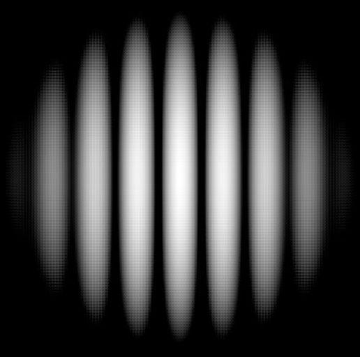 Типичная интерференционная картина, получаемая в опыте Юнга.