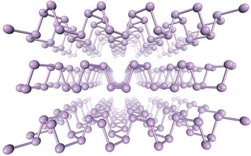 Ещё одна иллюстрация кристаллической структуры фосфорена.