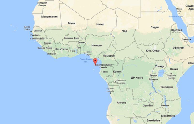 Расположение острова Принсипе на карте