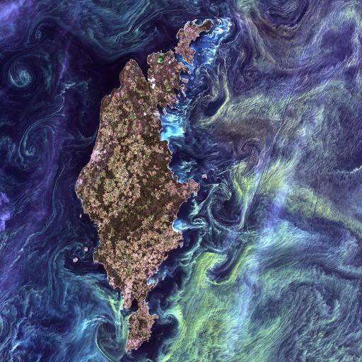 [Остров Готланд](http://goo.gl/JephR) в стиле Ван Гога, Landsat 7, снято 13 июля 2005 года