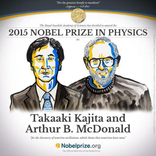 Лауреаты Нобелевской премии по физике 2015: Такааки Кадзита и Артур Макдональд.