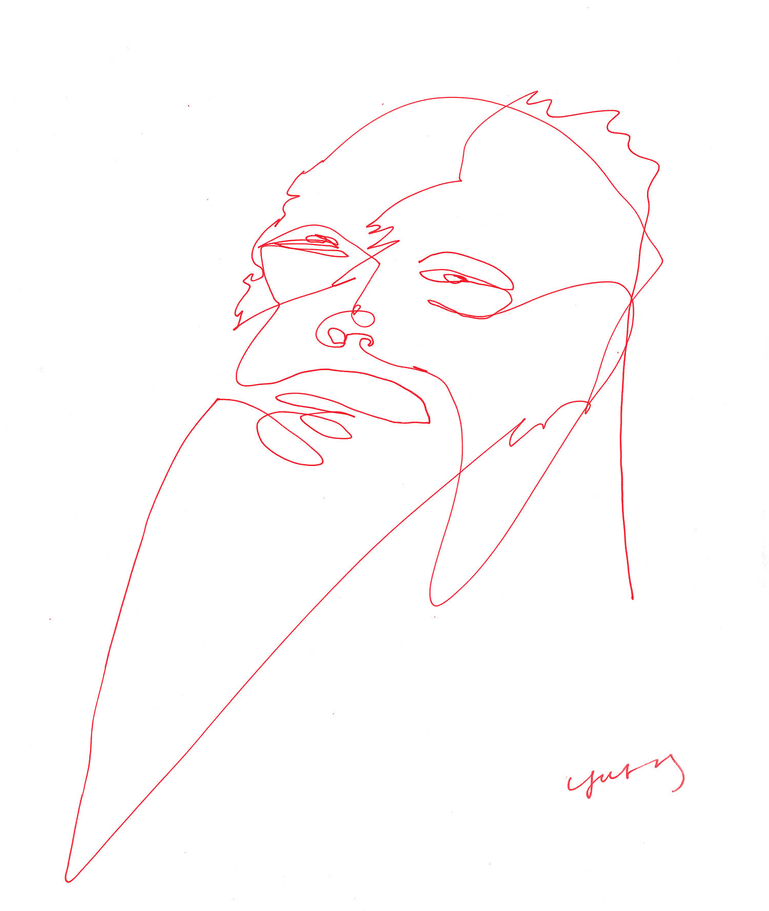 'Ancient Demon Waking Up from Hibernation in Contemporary Times', continuous line pen drawing by Greek multidisciplinary artist Kostas Gogas.