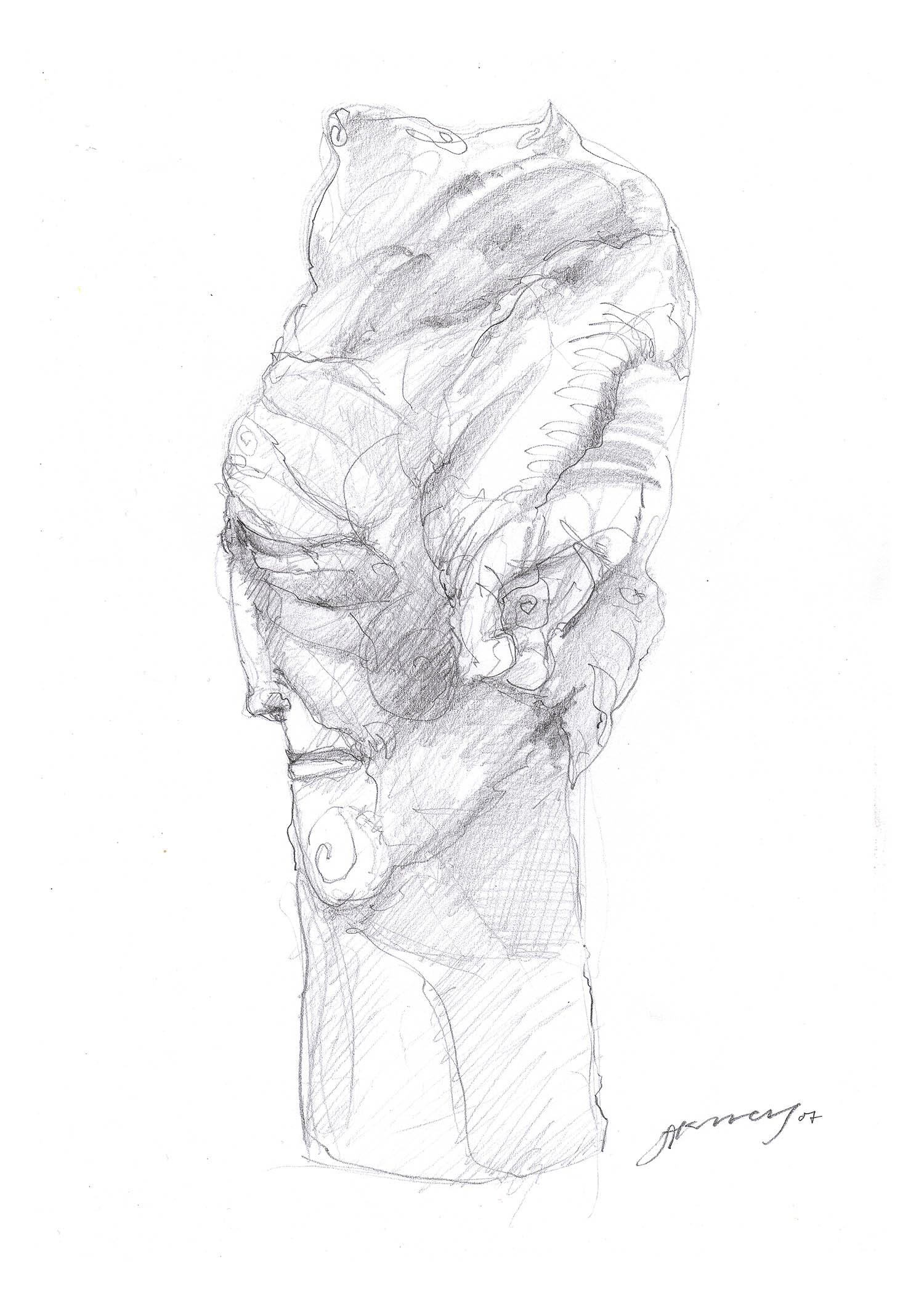 'Aristocratic Long Portrait 1', a modernist pencil portrait drawing by Greek multidisciplinary artist Kostas Gogas.