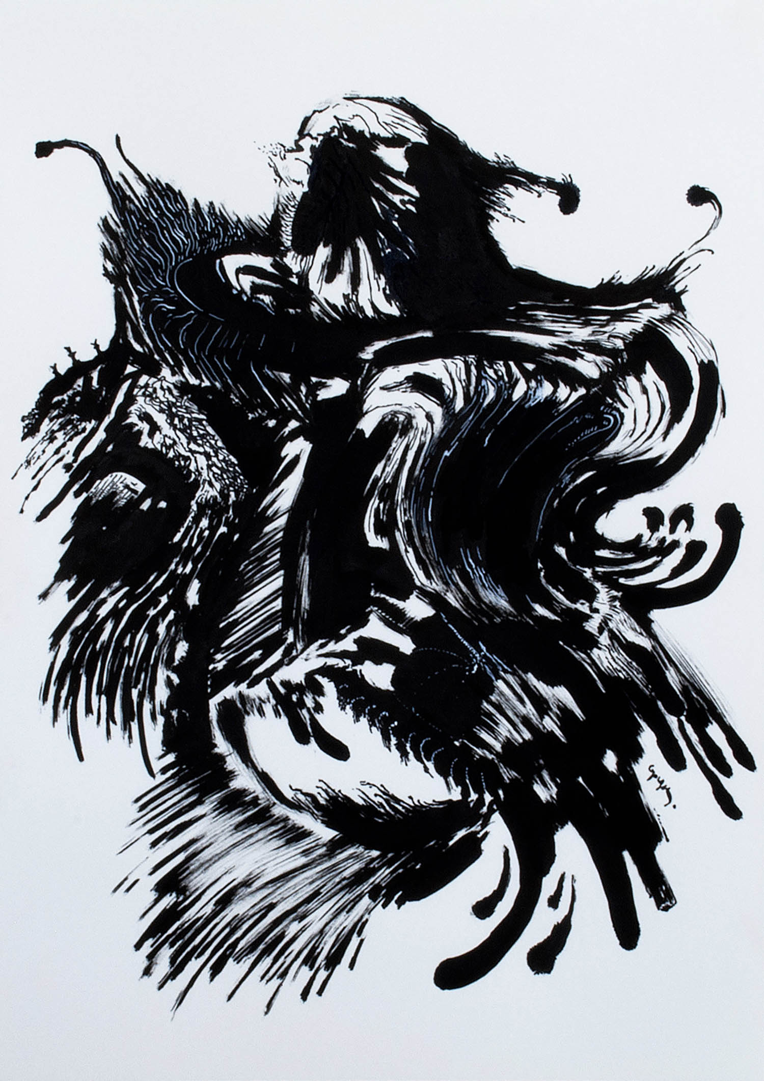 'Black Rooster', abstract monochrome black & white constrast animal painting by Greek multidisciplinary artist Kostas Gogas.