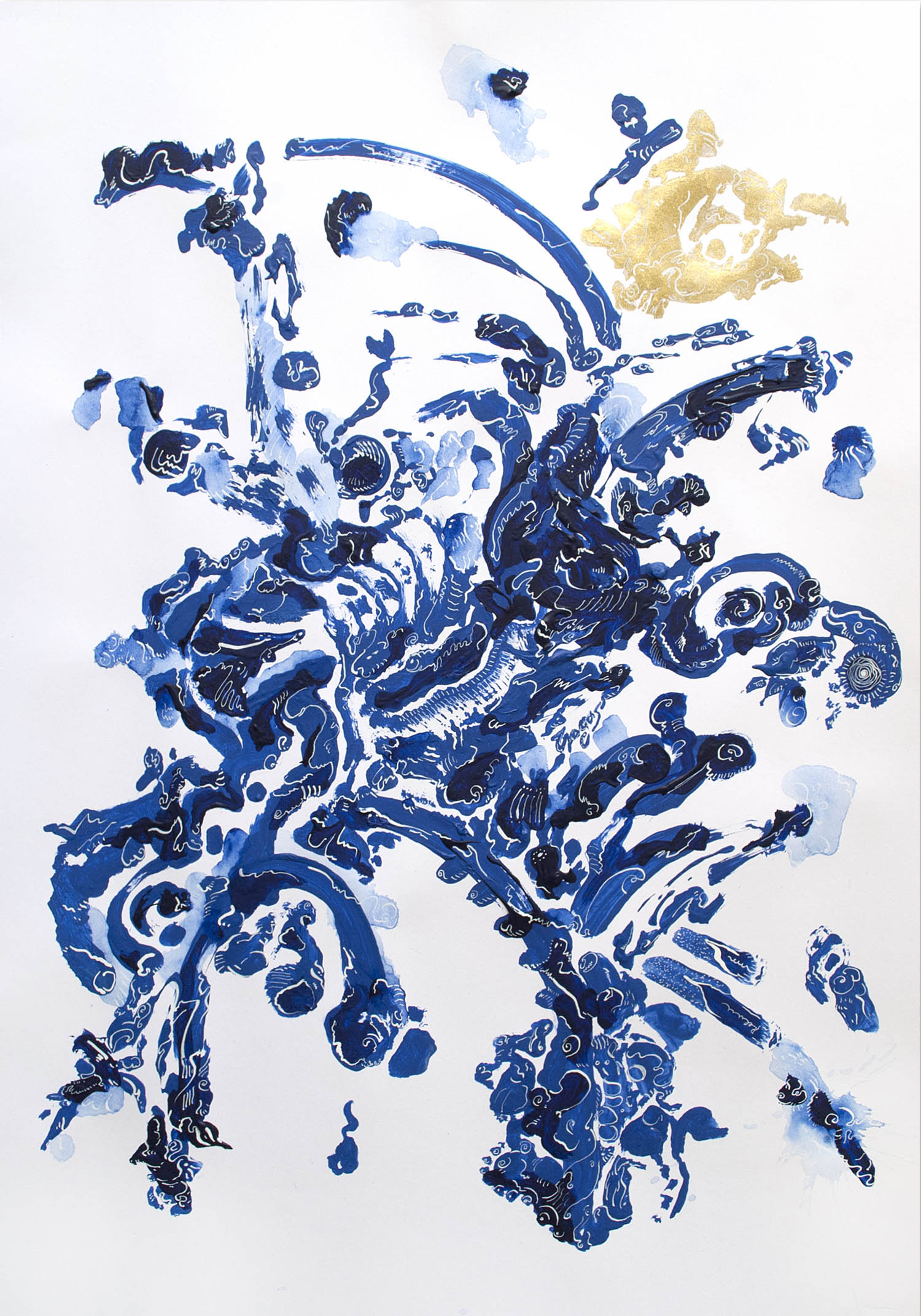 'Blue & Gold Abstract', An Abstract Acrylic & Ink Blue, Gold & White Artwork by Greek multidisciplinary artist Kostas Gogas.