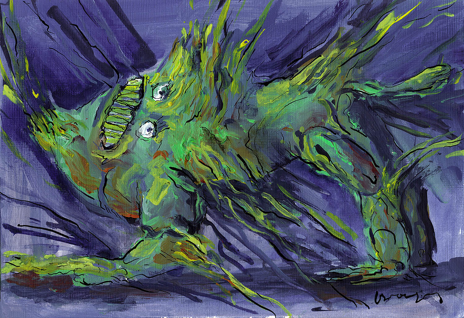 'Green Creature in Distress', abstract green creature painting on blue background by Greek multidisciplinary artist Kostas Gogas.