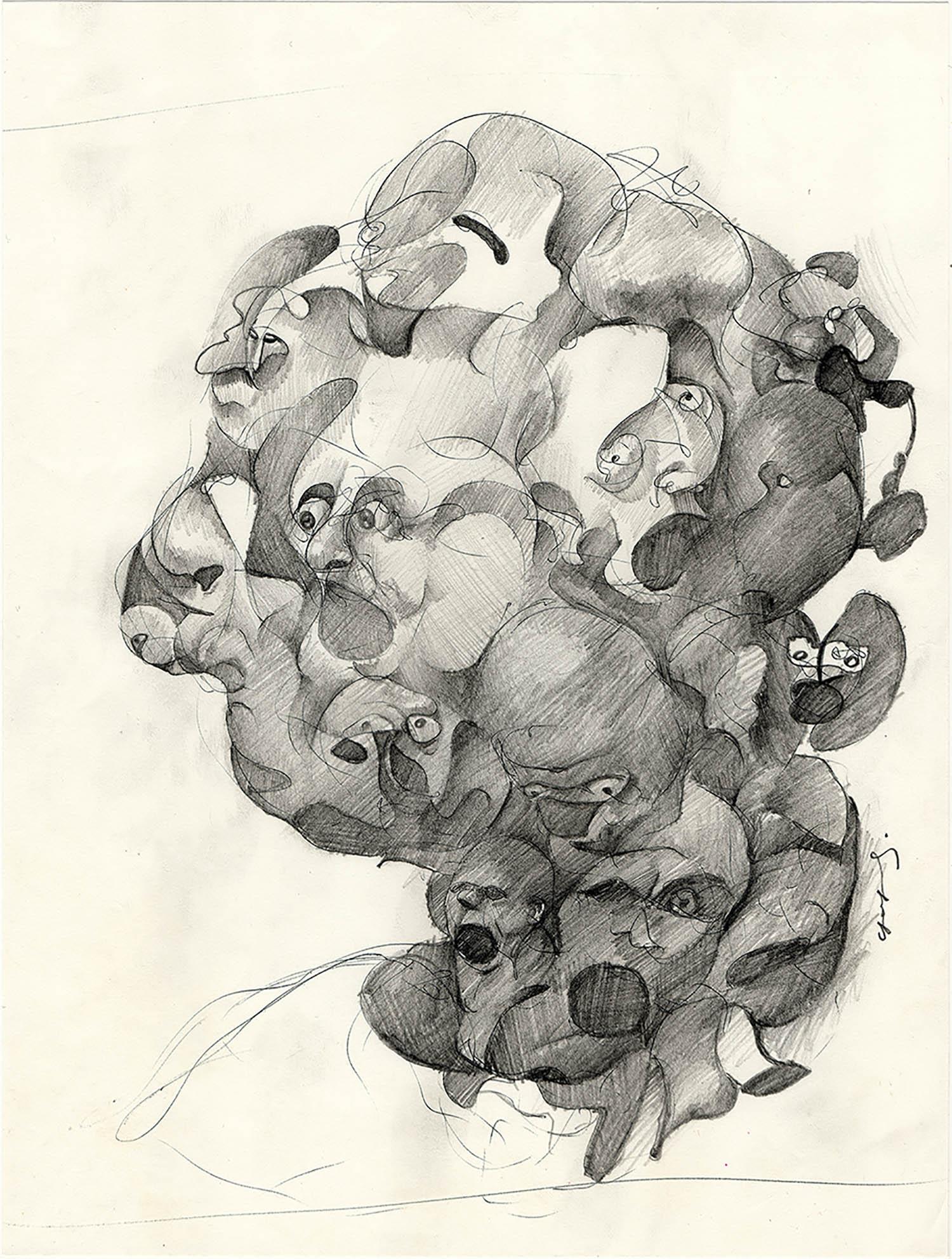 'Headache', An abstract figurative pencil drawing by Greek multidisciplinary artist Kostas Gogas.