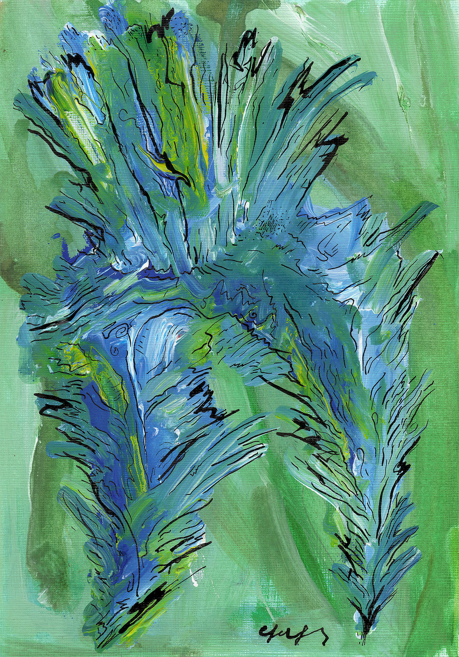 'Abstract Material: Light Blue', An Abstract Acrylic, Watercolor & Ink Blue & Green Artwork by Greek multidisciplinary artist Kostas Gogas.