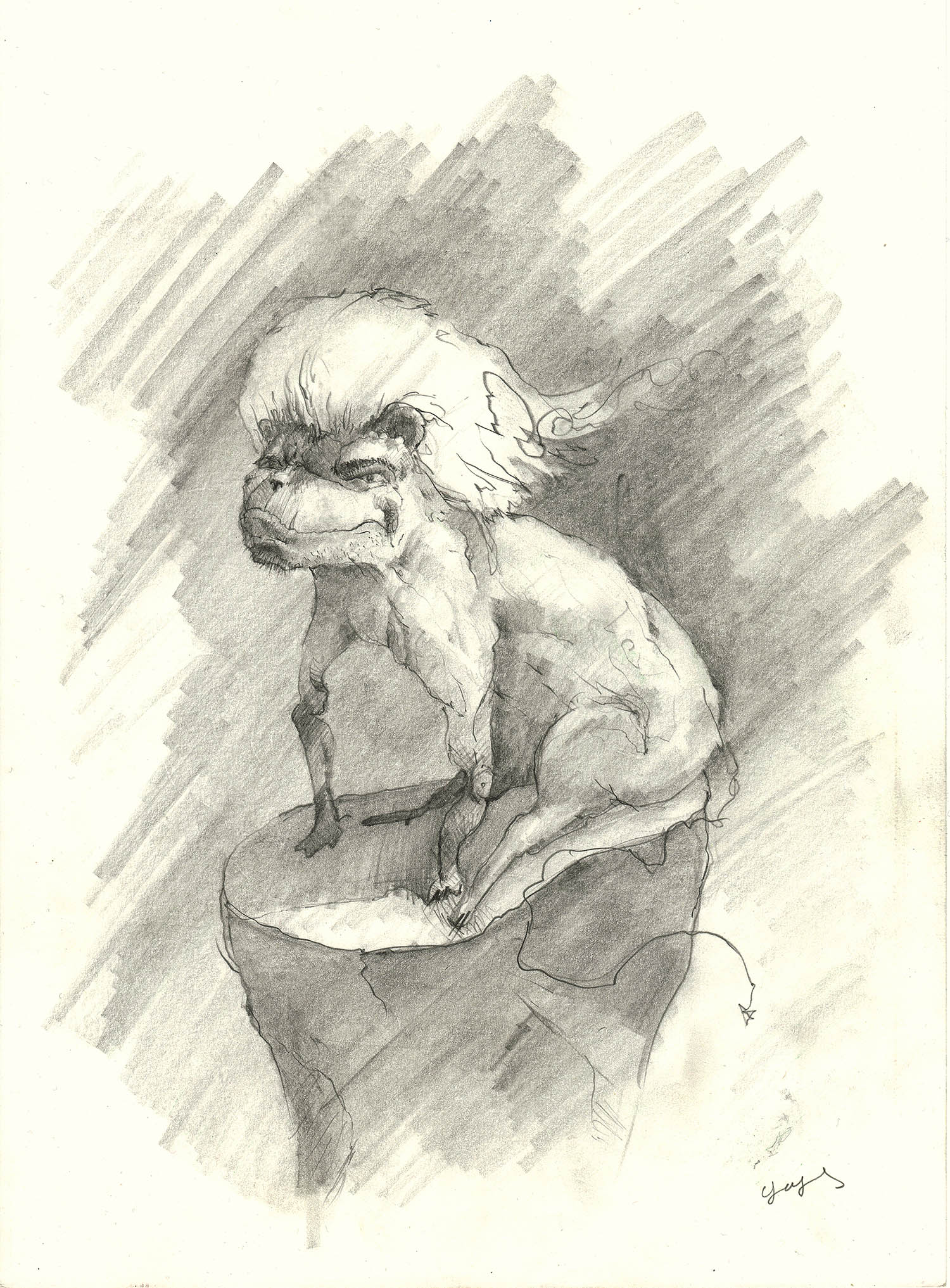 'Monster with Well-Groomed Hair (blond), Sitting', a fantasy character pencil drawing by Greek multidisciplinary artist Kostas Gogas.