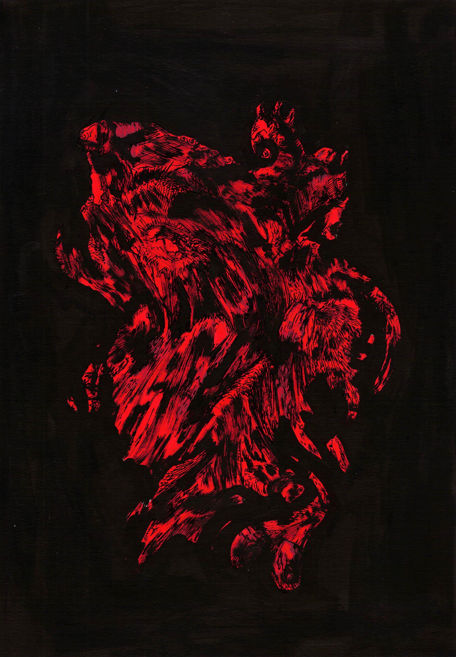 'Monstrous Red', An abstract dark black & red raw artwork by Greek multidisciplinary artist Kostas Gogas.