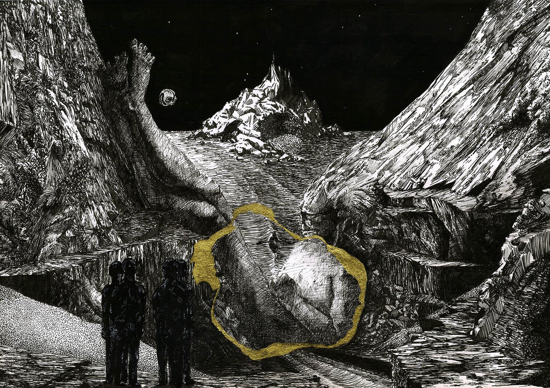 'Myth', An original, detailed, black & white pen fantasy art drawing with gold Kapanese kintsugi by Greek Multidisciplinary artist Kostas Gogas.