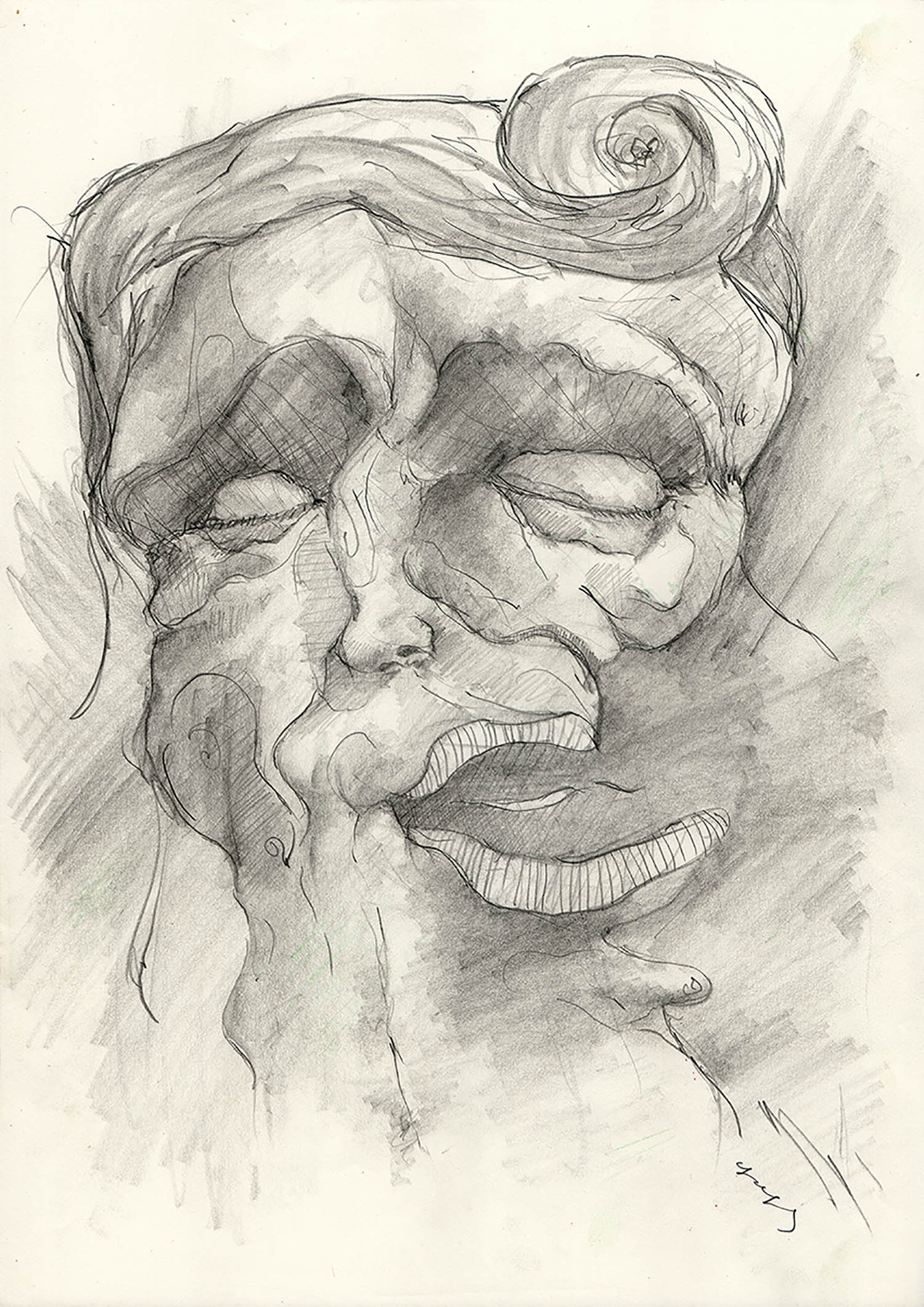'Sleepy Middle-Aged Man Trying to Laugh Out of Politeness - He Froze and Remained Like That', a figurative pencil potrait drawing by Greek multidisciplinary artist Kostas Gogas.
