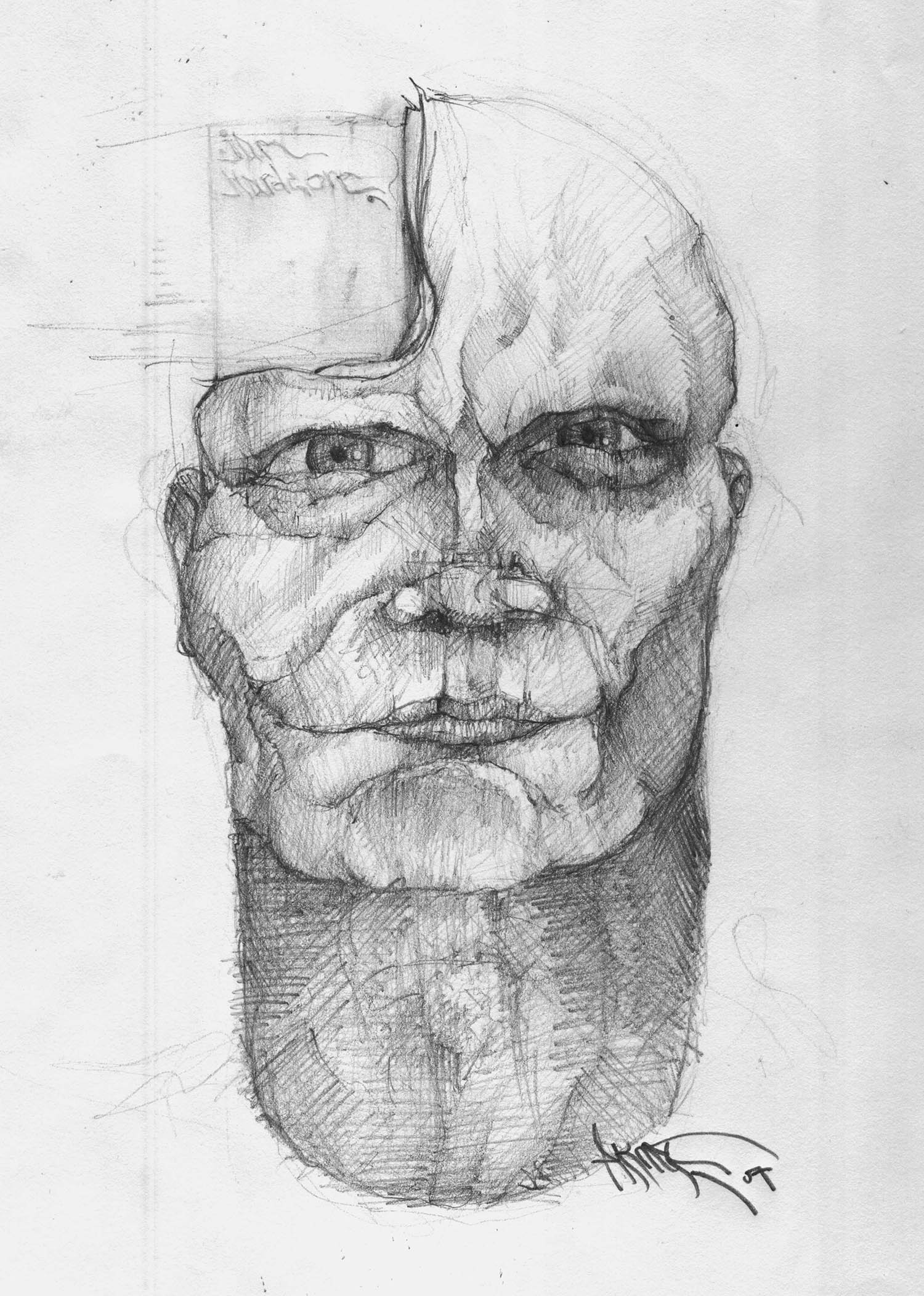 Hardcore Man Portait Sketch by Artist Kostas Gogas