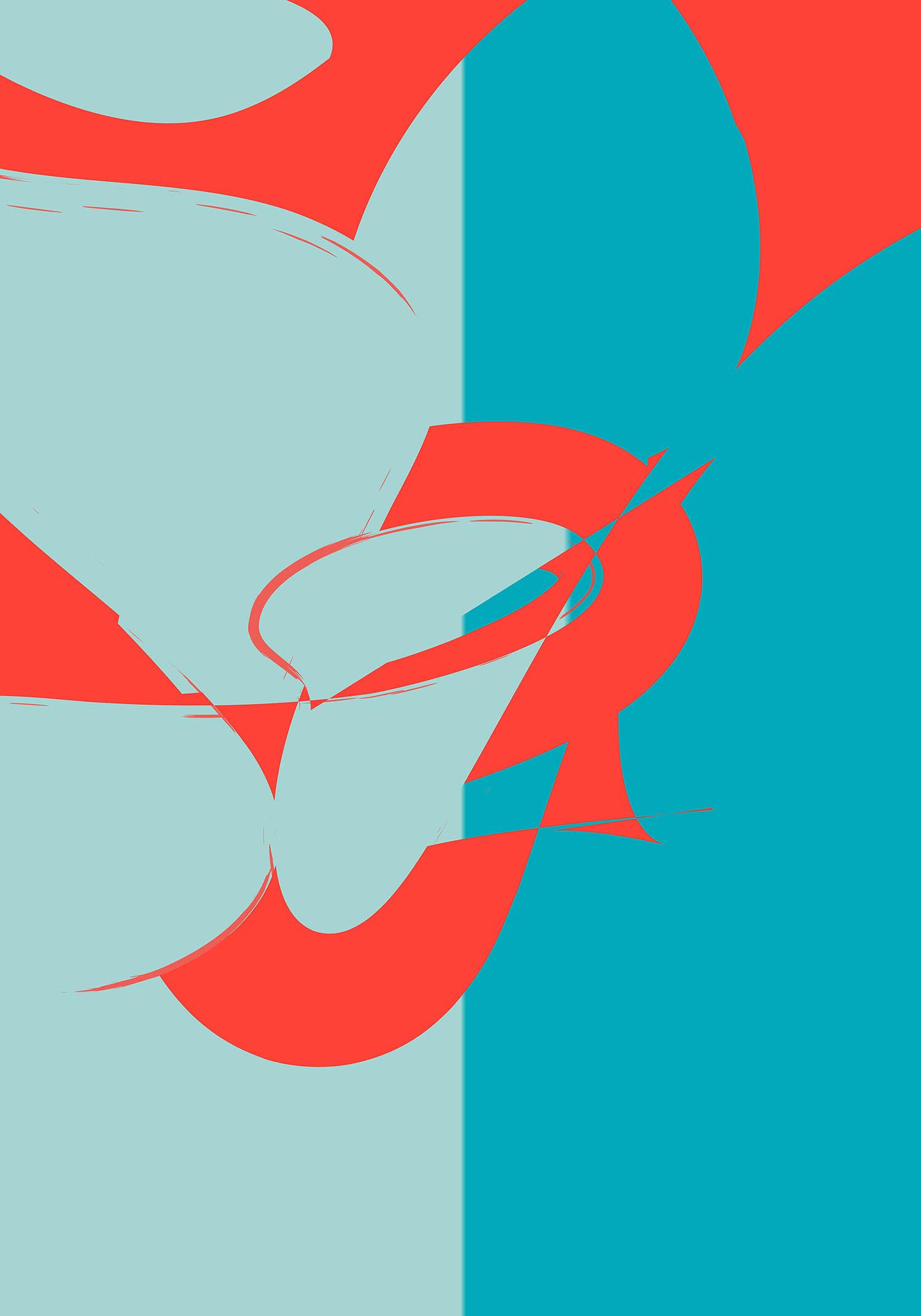 'oB 75', Cyan, Light Blue & Orange Abstract New Media Art Print by Greek multidisciplinary artist Kostas Gogas.
