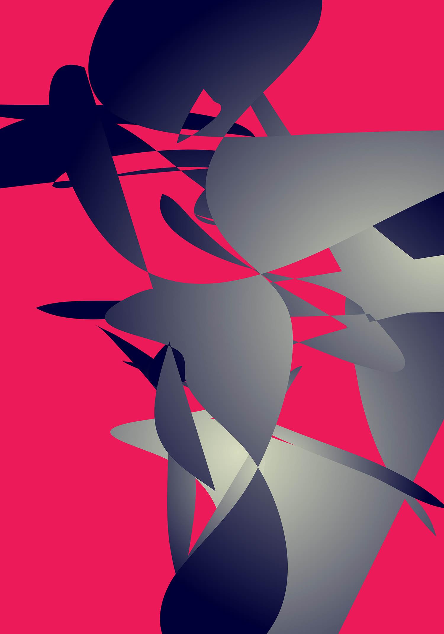 'Covaq 27', Pink & Blue Gray Abstract New Media Art Print by Greek multidisciplinary artist Kostas Gogas.