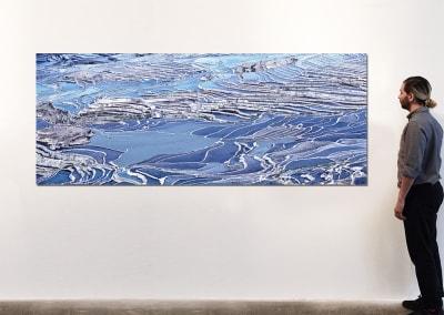 "Rice Terraces (Blue), Yuanyang, Yunnan, CN, 40"" x 100"" - David Burdeny"