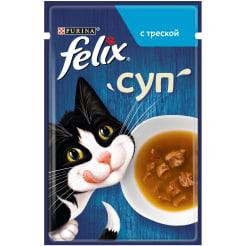 Влажный корм Purina Felix суп для взрослых кошек с треской, 0.048кг
