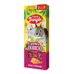 Лакомство для грызунов Happy Jungle Палочки мед, овощи 3 шт