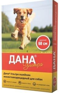 Ошейник от блох ДАНА ультра для собак красный 60 см
