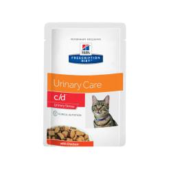 Влажный диетический корм для кошек Hill's Prescription Diet c/d Multicare Urinary Stress при профилактике цистита и мкб,  в том числе вызванные стрессом, с курицей, 0.085кг