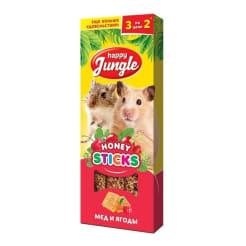 Лакомство для мелких грызунов Happy Jungle Палочки мед, ягоды, 3шт