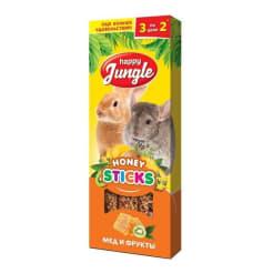 Лакомство для грызунов Happy Jungle Палочки мед, фрукты 3 шт
