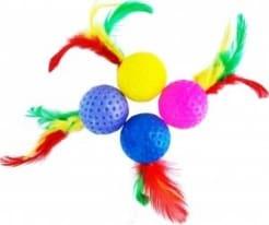 Игрушка для кошек мяч с перьями