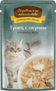 Деревенские лакомства консервы для кошек тунец и окунь в желе, 0.07кг