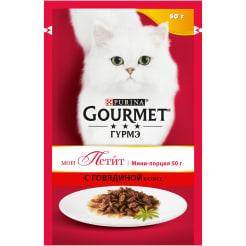 Влажный корм Gourmet Мон Петит для кошек, с говядиной в соусе, 0.050кг