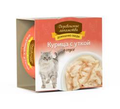 Деревенские лакомства консервы для кошек курица и утка соус, 0.08кг