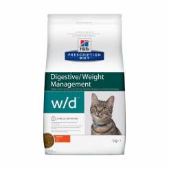 Сухой диетический корм для кошек Hill's Prescription Diet w/d Digestive при поддержании веса и при сахарном диабете с курицей, 5 кг
