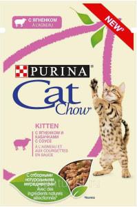 Влажный корм Purina Cat Chow, с ягненком и кабачками в соусе(для стерилизованных котят, беременных и кормящих кошек), 0.085кг