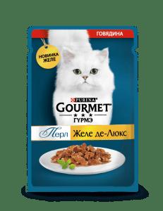 Влажный корм Gourmet Перл Желе Де-Люкс для кошек, с говядиной в роскошном желе, 0.075кг