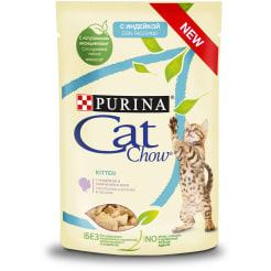 Влажный корм Purina Cat Chow Для котят с индейкой и кабачками в желе, 0.085г