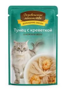 Деревенские лакомства консервы для кошек тунец и креветка в желе, 0.07кг