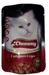 Chammy консерва для кошек 85 гр говядина в соусе