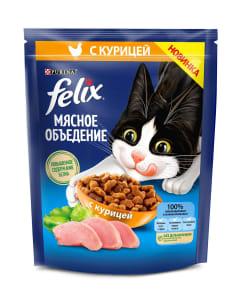 Сухой корм Felix® Мясное объедение для взрослых кошек, с курицей, 0.2кг